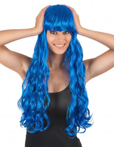 Perruque longue ondulée bleue avec frange femme