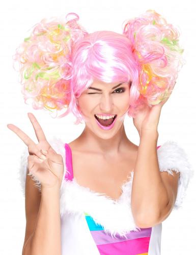 Perruque rose clair à couettes bouclées femme