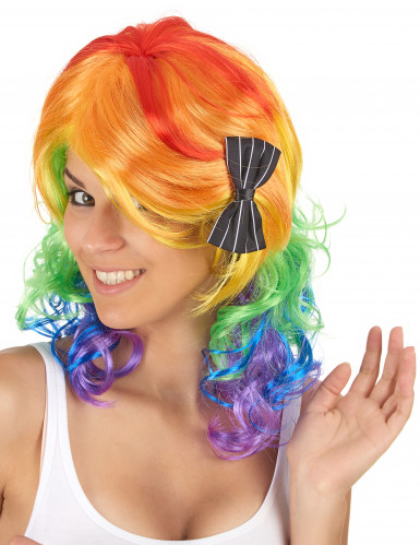 Perruque mi-longue multicolore femme
