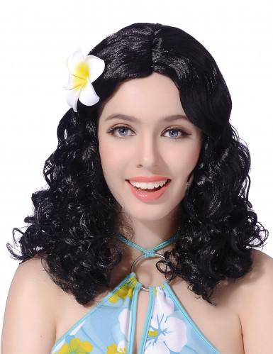 Perruque noire fleur femme