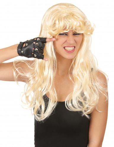 Perruque longue blonde ondulée avec frange femme