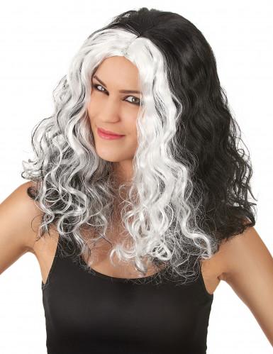 Perruque noire et blanche ondulée femme