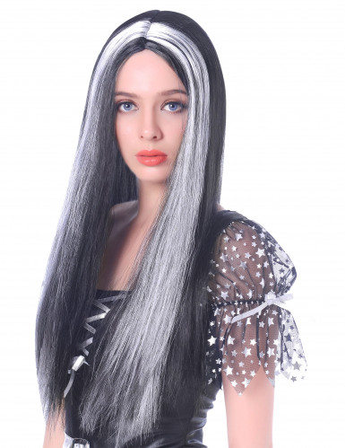 Perruque longue noire et blanche femme - 60cm