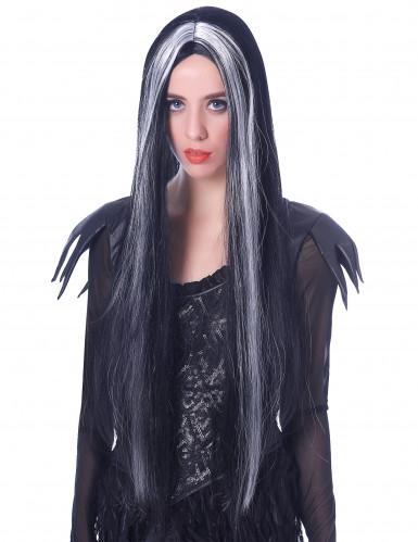 Perruque très longue noire et blanche femme - 75cm