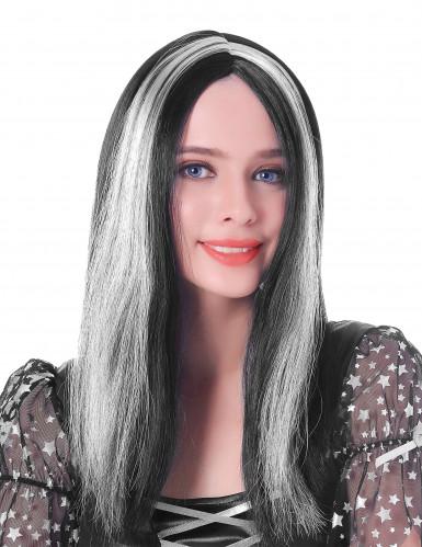 Perruque longue noire et blanche femme - 45cm