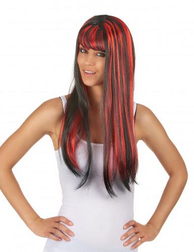 Perruque longue noire avec frange et balayage rouge femme