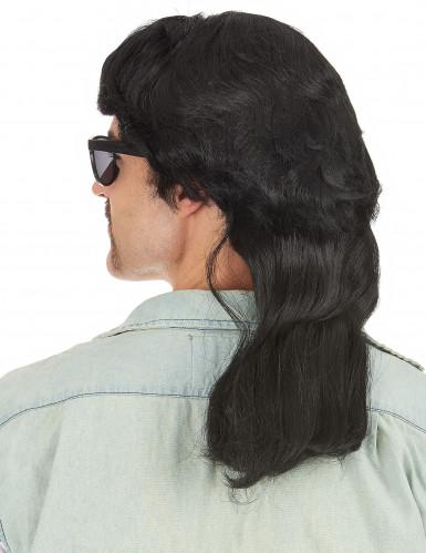 Perruque mulet noire à frange homme-1