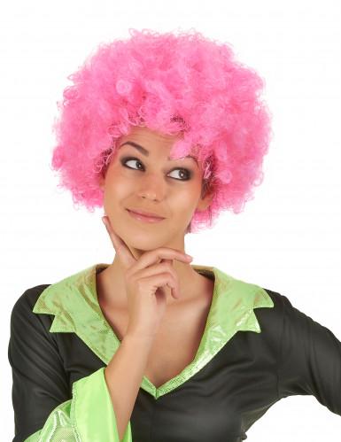 Perruque afro/ clown rose confort adulte-1