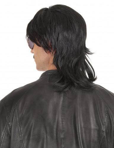Perruque mulet noire raide homme-1