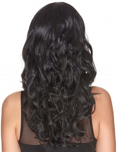 Perruque luxe noire ondulée avec frange femme - 221g-2