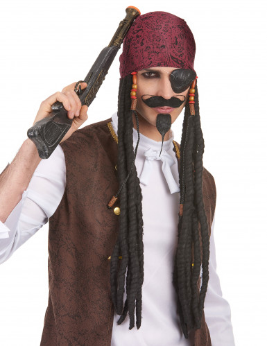 Perruque noire Pirate longue homme avec bandana