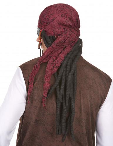 Perruque noire Pirate longue homme avec bandana-1