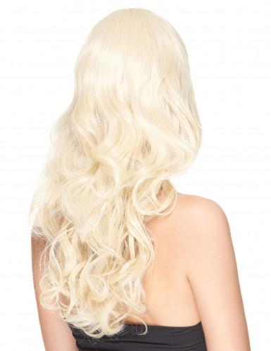Perruque luxe blonde ondulée avec frange femme - 221g-1