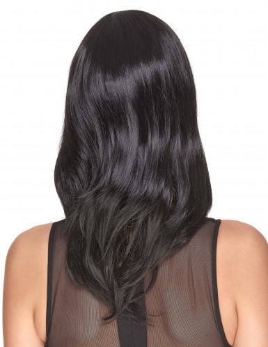 Perruque luxe noire mi-longue femme - 170g-1