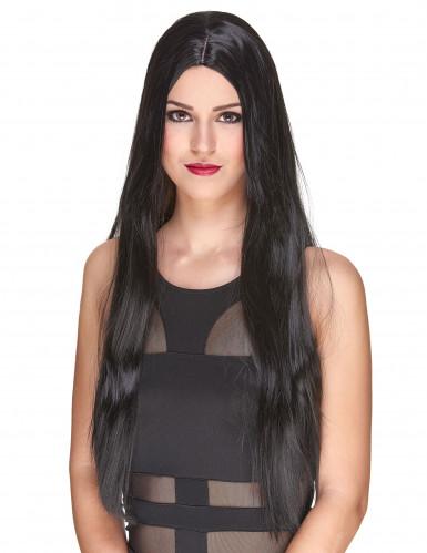 Perruque luxe noire très longue femme