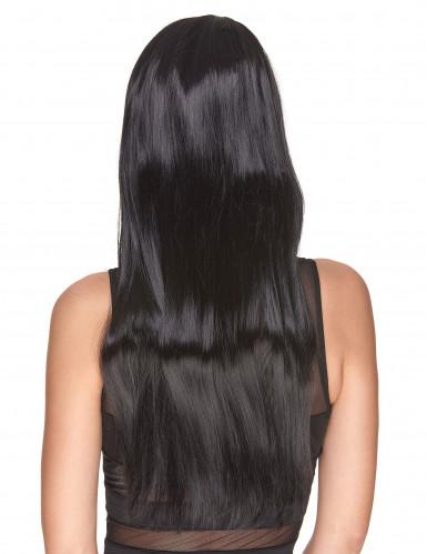 Perruque luxe noire très longue femme-1