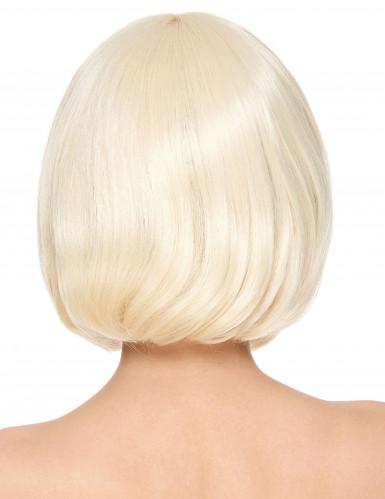 Perruque luxe blonde carré court avec frange femme-1