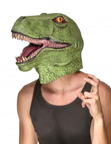 Masque latex dinosaure vert adulte