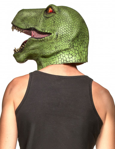 Masque latex dinosaure vert adulte-1