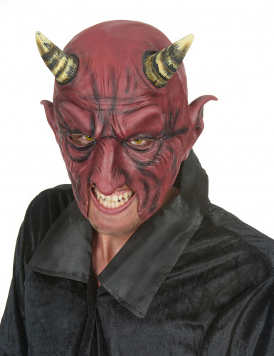 Demi masque latex démon à corne adulte Halloween