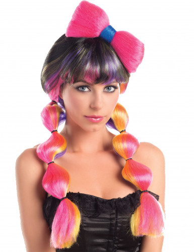 Perruque multicolore couettes et noeud femme - 258g