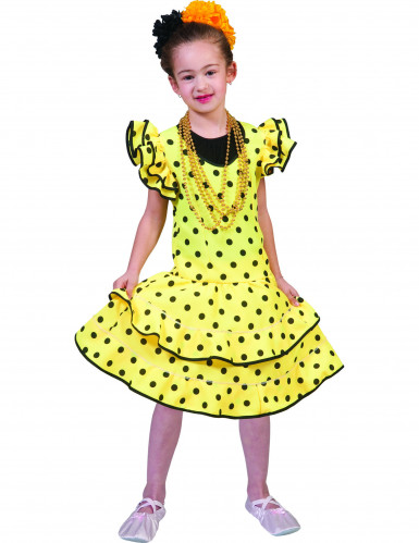 Déguisement flamenco jaune à pois fille