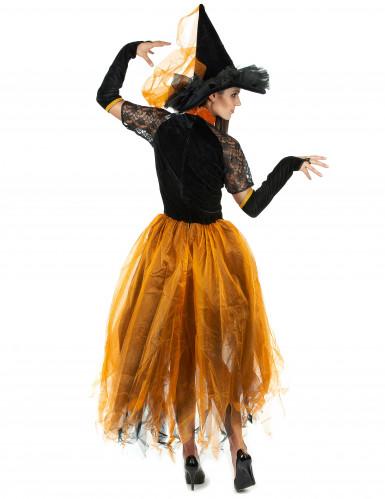 Déguisement sorcière dentellée orange femme Halloween-2