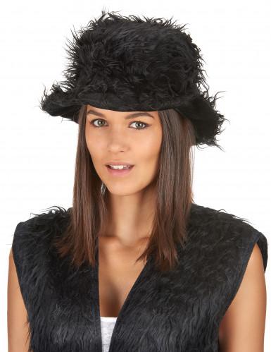 Chapeau peluche noir adulte-1
