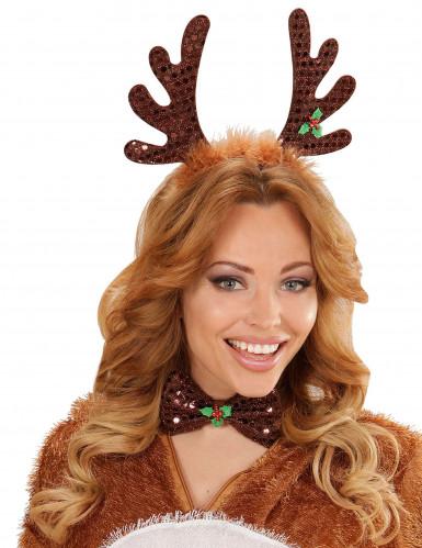 Kit serre-tête et noeud papillon renne Noël