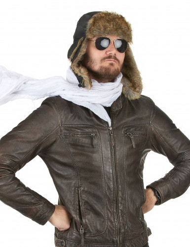 Chapeau aviateur avec fourrure adulte-1