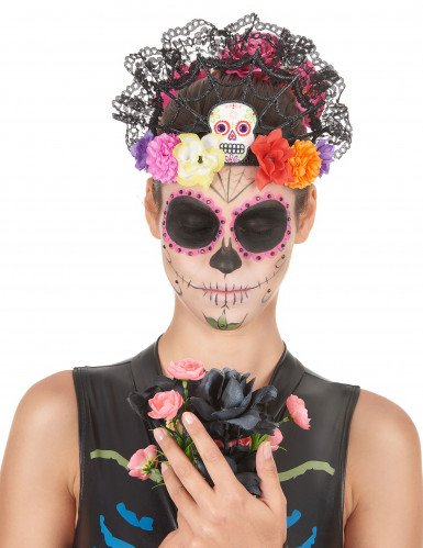 Serre-tête tiare fleurs colorées femme Dia de los muertos-1
