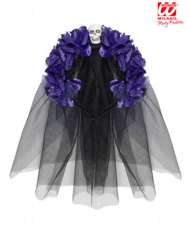 Coiffe fleurs violettes avec tête de mort femme Dia de los muertos-1