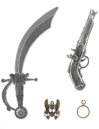 Kit de pirate en plastique - Sabre pistolet insigne et boucle d'oreilles Enfant-2