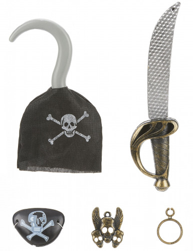 Kit de pirate en plastique - Sabre, crochet, insigne et cache eil et boucle d'oreilles Enfant