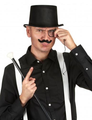 Chapeau haut de forme noir en plastique Adulte-1