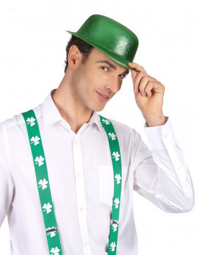 Chapeau melon vert pailleté adulte Saint Patrick-1