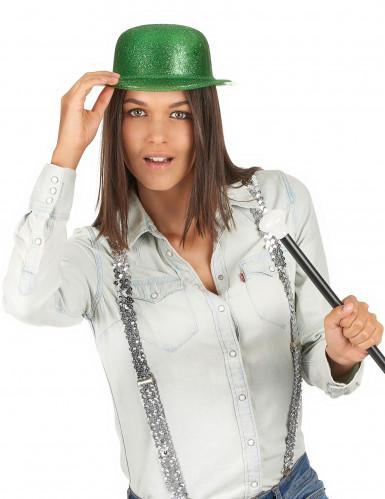 Chapeau melon vert pailleté adulte Saint Patrick-2