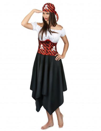 Déguisement pirate à rayures noires et rouges femme-1