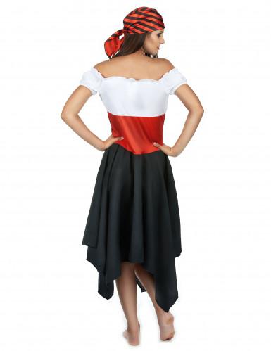 Déguisement pirate à rayures noires et rouges femme-2