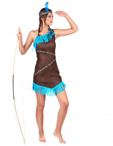 Déguisement indienne marron et bleu femme-1