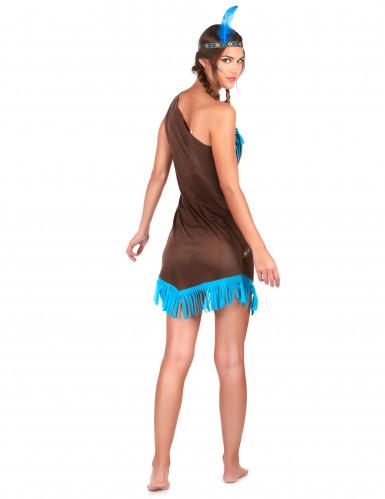 Déguisement indienne marron et bleu femme-2