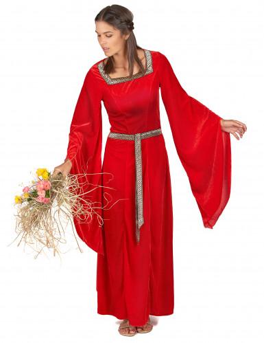 Déguisement médiéval rouge effet velours femme-1