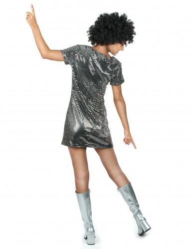 Déguisement robe disco argentée-2