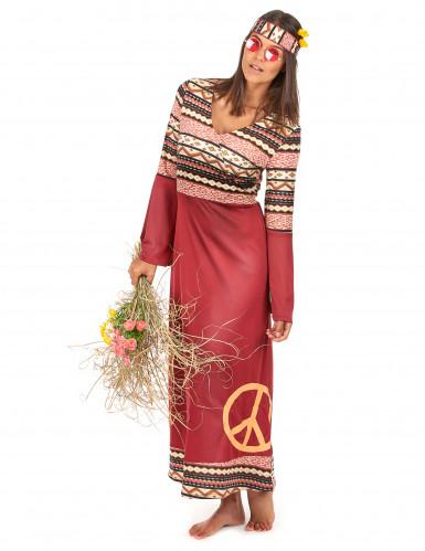 Déguisement robe hippie bordeaux femme-1