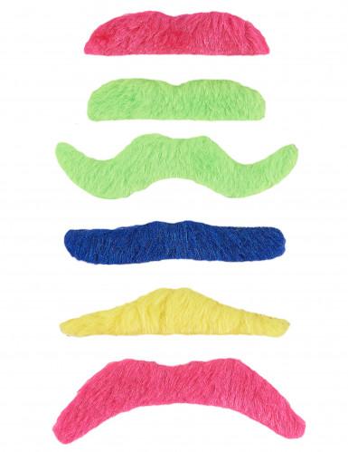 6 Moustaches adhésives fluos