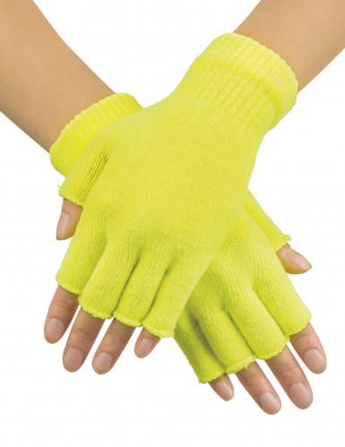 Mitaines courtes jaune fluo adulte