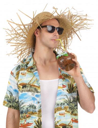 Chapeau en paille claire Hawaï adulte-1
