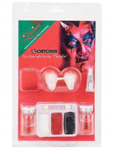 Kit maquillage démon avec lentilles fantaisie adulte Halloween-1