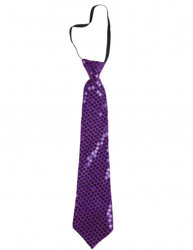 Cravate à paillettes violettes adulte