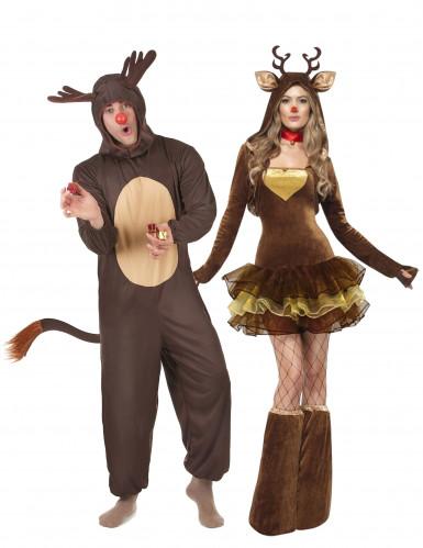Déguisement de couple rennes de Noël adulte